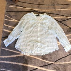 Lane Bryant beachy button down stripe shirt
